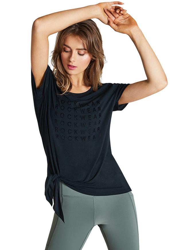 라이트 블룸 타이 프런트 티셔츠_R211TTS018.BLK